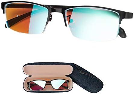レッドグリーンブラインドカラーブラインドメガネ、セミラップサングラス、視力障害、男性用屋外および屋内用矯正レンズ