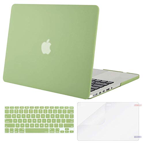 MOSISO Case Only Compatible with Older Version MacBook Pro Retina 13 inch (Models: A1502 & A1425) (Release 2015 - end 2012), Plastic Hard Shell & Keyboard Cover & Screen Protector, Chartreuse