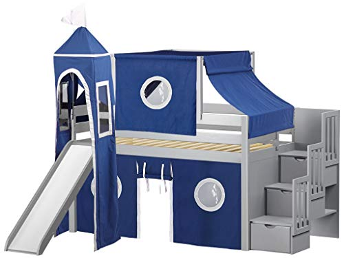 JACKPOT! Castle Low Loft Stairway Bed with Slide Blue & White Tent and Tower, Loft Bed, Twin, ()