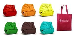 Rumparooz Newborn Cloth Diaper Covers, 6 pack, Gender Neutral Colors with Reusable Dainty Baby Bag Bundle (Snap)