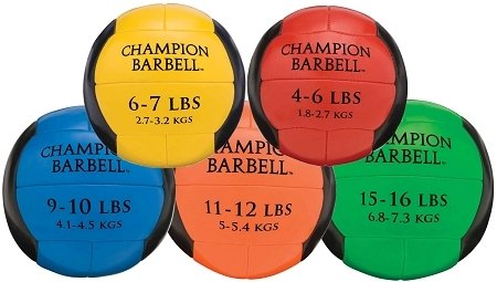 Champion Barbell 5 Ball Leather Medicine Ball Set 4-6 lb to 15-16 lb by Athletic Connection