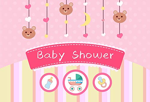 Baocicco 9x6ft Background for Three Little Bears Baby Shower Pink Photography Backdrop Hangings Baby Carriage Nipple Pink Dots Stripes It's A Girl Pincess Little Lady Vinyl Photo Studio -