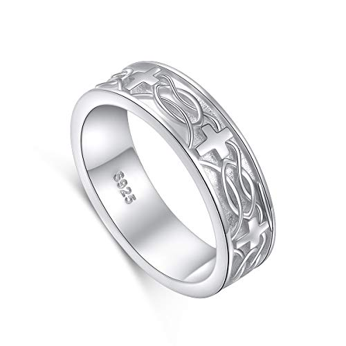 Sterling Silver Celtic Knot Cross Religious Antique Ring White Gold Plated Size 7 ()