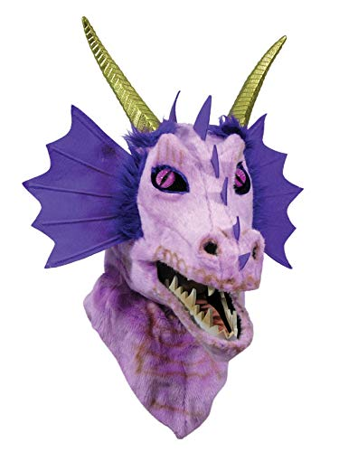 Forum Novelties 81350 Unisex-Adults Moving Jaw Masks Dragon, Purple, Standard, Multicolor