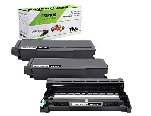 (PayForLess 2PK TN460 TN-460 Toner Cartridge 1PK DR400 DR-400 Drum Unit Compatible for Brother ET-4750 HL-1440 HL-1240 MFC-8500 Fax-4100e tn 1030 for Brother tn460 dr400 Drum)