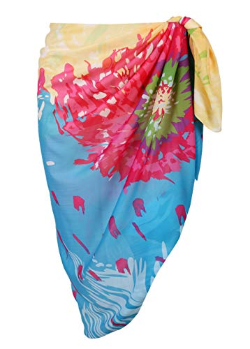 Floral Wrap Chiffon (CHIC DIARY Women Chiffon Pareo Beach Wrap Sarong Swimsuit Scarf Cover Up for Vacation (Sky Blue&Yellow Floral))