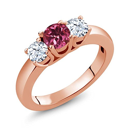 - Gem Stone King 1.16 Ct Round Pink Tourmaline White Topaz 18K Rose Gold Plated Silver Ring (Size 7)