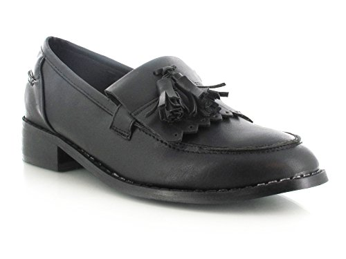 Womens Ladies Girls Flat Tassel Fringe Loafers Casual Smart Office Work School Dress Shoes Black Faux Leather sJaArw0C1