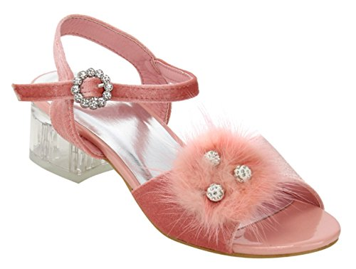 Pink Rhinestone Studded Glitter Flower Girl Shoe for Girl Wide Buckle Lightweight Zapatos Bonitos para Nina Feather Cute Dressy Prime Sandal for Kid Children (Size 9, Pink)