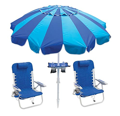 RIO BEACH Beach Chairs Backpack and Beach Umbrella with Cup Holders Lace-Up Backpack Chair Set, Nautical Blue + 7' Beach Umbrella with Integrated Sand Anchor and Table