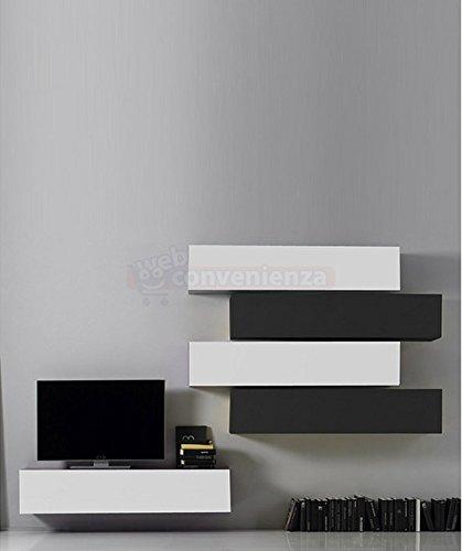 Parete Attrezzata Porta Tv Moderna.Web Convenienza Box 11 B Bianco Lucido E Antracite Lucido Parete