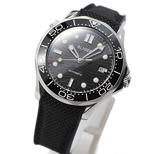 Bliger 41mm Black dial Sapphire Luminous Ceramic Rotating Bezel Automatic Movement Mens Watch Rubber Strap B82 ()
