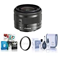 Canon EF-M 15-45mm f/3.5-6.3 IS STM Lens, Black - BUNDLE With 49mm UV Filter, Cleaning Kit, Software Package