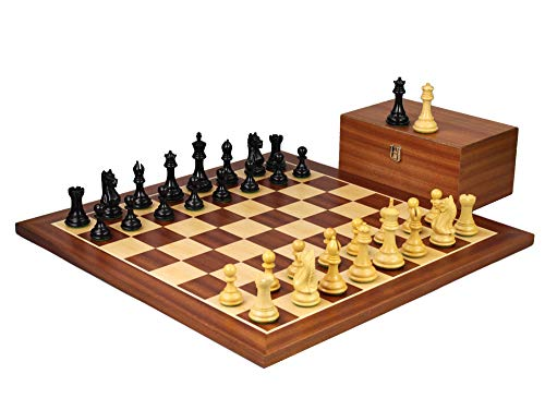 Wooden Chess Set Mahogany Board 21″ Weighted Ebonised Staunton Fierce Knight Pieces 3.75″