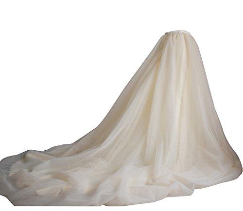 flowerry Champagne Tutu Tulle Long Train Skirt Bridal Skirt Women Wedding Skirt XS