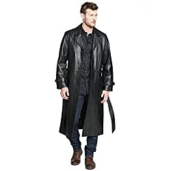 Mens Classic Leather Trench Coat