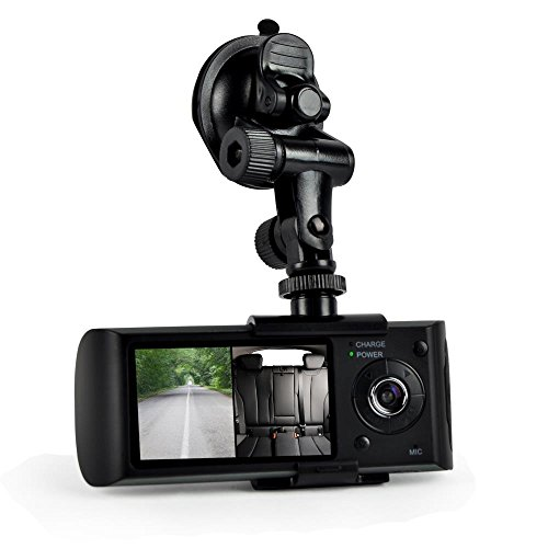 Pyle Car Recorder DVR Front & Rear View Dash Camera Video 2.7 Inch Monitor Windshield Mount - Full Color HD 1080p Security Camcorder for Vehicle - PiP Night Vision Audio Record Micro SD PLDVRCAMG36