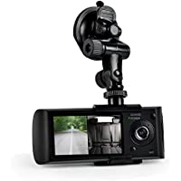 Car Recorder DVR Front & Rear View Dash Camera Video 2.7 Inch Monitor Windshield Mount - Full Color HD 1080p Security Camcorder for Vehicle - PiP Night Vision Audio Record Micro SD Pyle PLDVRCAMG36
