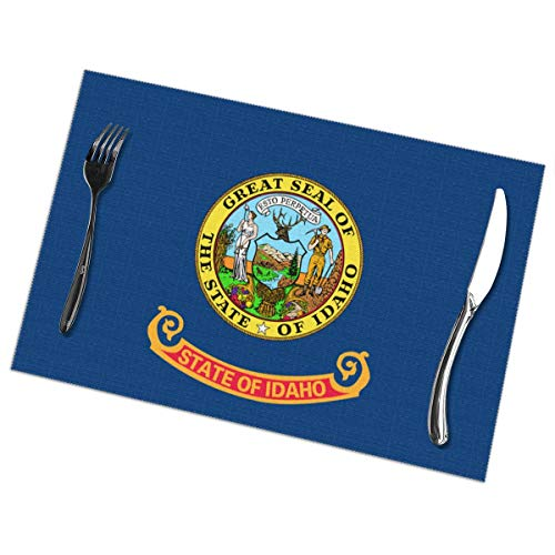 TNIJWMG Placemats for Dining Table Set Idaho Flag ID Heat Insulation Kitchen Non Slip Table Mats of 6