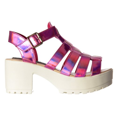 Único Gladiador Plataforma Onlineshoe Sandals De Enlistonada Rosa Verano Femenina Tacãn Holograma Corte Grueso Bloque EPwfH8wq
