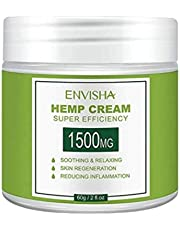 ENVISHA Hemp Cream | 1500mg Organic Hemp Extract | Suitable for Pain Relief, Acne, Eczema, Psoriasis, and Atopic Dermatitis Treatment | Suitable for All Skin Types | Made from Rich Cold Pressed Hemp Seed Oil