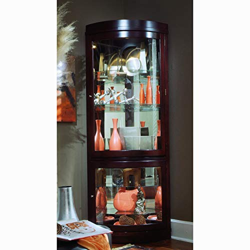 Sofaweb.com Chocolate Cherry Curved Front Corner Curio Cabinet