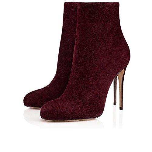 AIWEIYi Womens Leopard Print Stilettos High Heels Ankle Boots Wine Red nb4eh6k