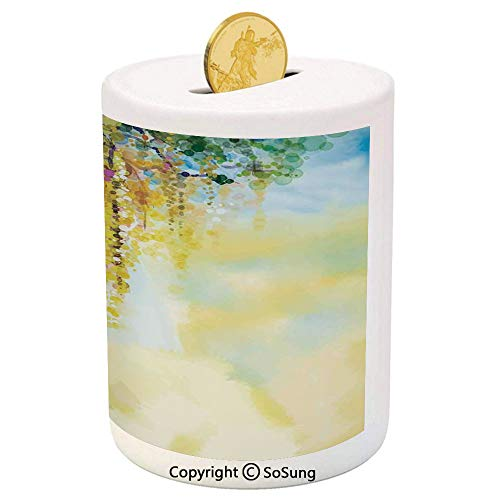 Watercolor Flower Ceramic Piggy Bank,Charms of Golden Color Wisteria in Sunny Day Artistic Print 3D Printed Ceramic Coin Bank Money Box for Kids & Adults,Yellow Light Blue Green -