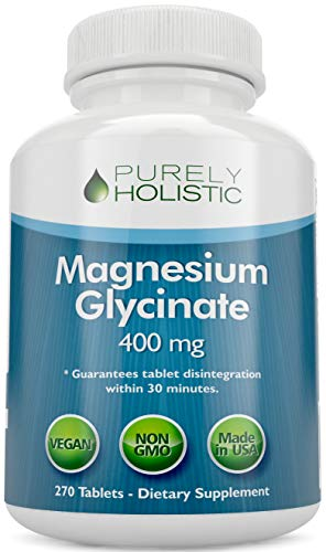 Magnesium Glycinate 400mg – 100% More 270 Magnesium Tablets (not Capsules), Highly Bioavailable, Non Buffered, Vegan and…
