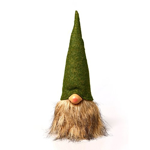 (Handmade Swedish Tomte,Santa - Gnome Figurines Plush Birthday Gift - Home Ornaments Holiday Decoration Table Decor - 12 Inches Green)