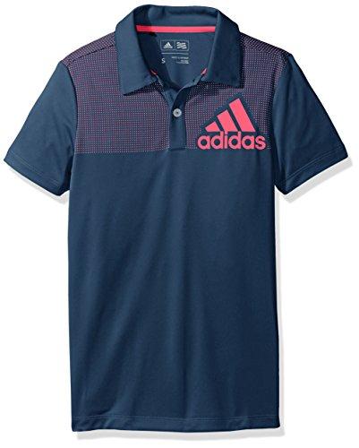 Logo Print Polo (adidas Golf Boys B Big Logo Dot Print Shirt, Mineral Blue, Medium)