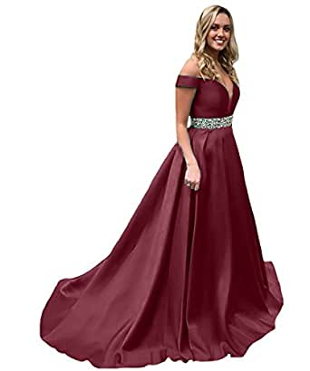 VinBridal Elegant Sweetheart Crystal Satin Formal Long Ball Gown Prom Dresses