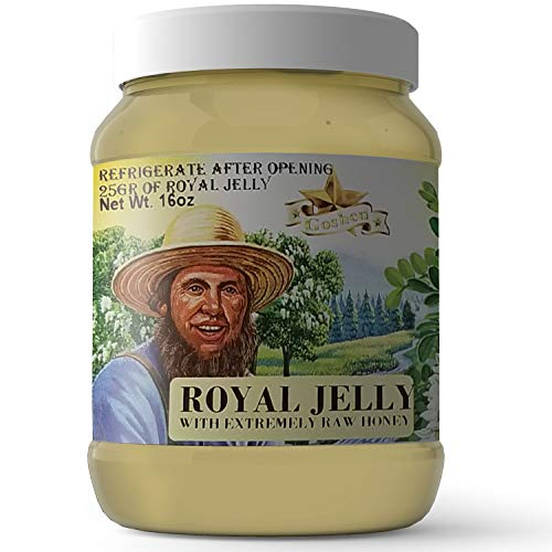 Goshen Honey Amish ROYAL JELLY with Extremely Raw Honey 100% Natural Blend Domestic Honey with Health Benefits Unfiltered Unprocessed Unheated OU Kosher Certified | 1 Lb Plastic Jar
