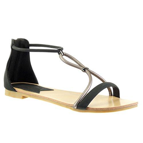 Angkorly - Chaussure Mode Sandale salomés femme lanière Talon bloc 1 CM - Noir