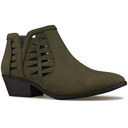 Khaki Women's Heel Boots Block Standard Stacked Premier Ankle Cutout Chunky Perforated Bootie gpqBRx76w