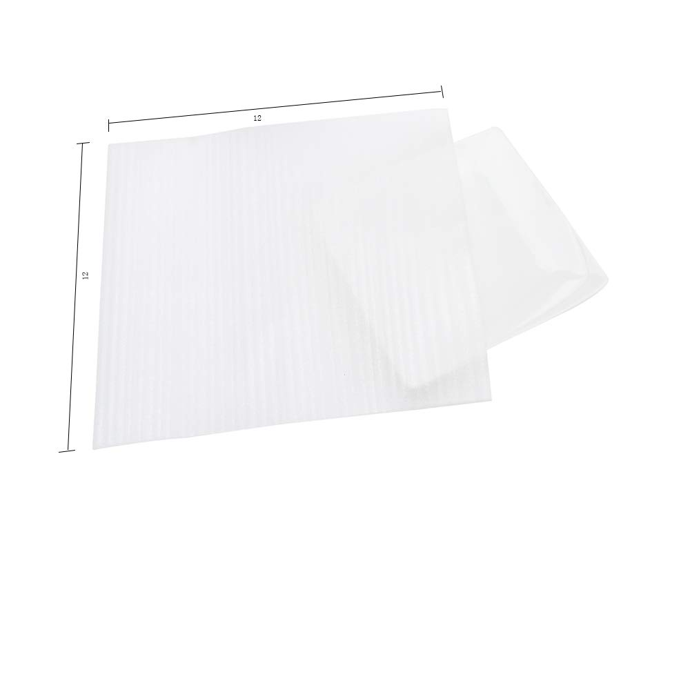 Foam Pouches, Foam Wraps Recyclable Cushioning for Moving Storage Packing and Shipping Fit Dish Wrap and Glassware Electronic Accessories Packaging Supply 12'' x 12'' 50-Count (White) by Alin (Image #2)