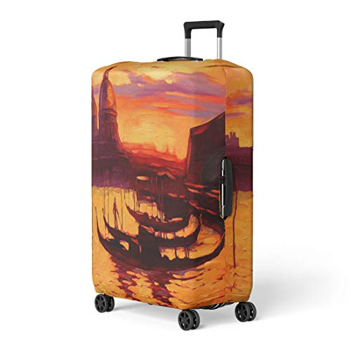 Promenade Oil Painting - Semtomn Luggage Cover Promenade and Pier Gondola in Venice Oil Painting Travel Suitcase Cover Protector Baggage Case Fits 26-28 Inch