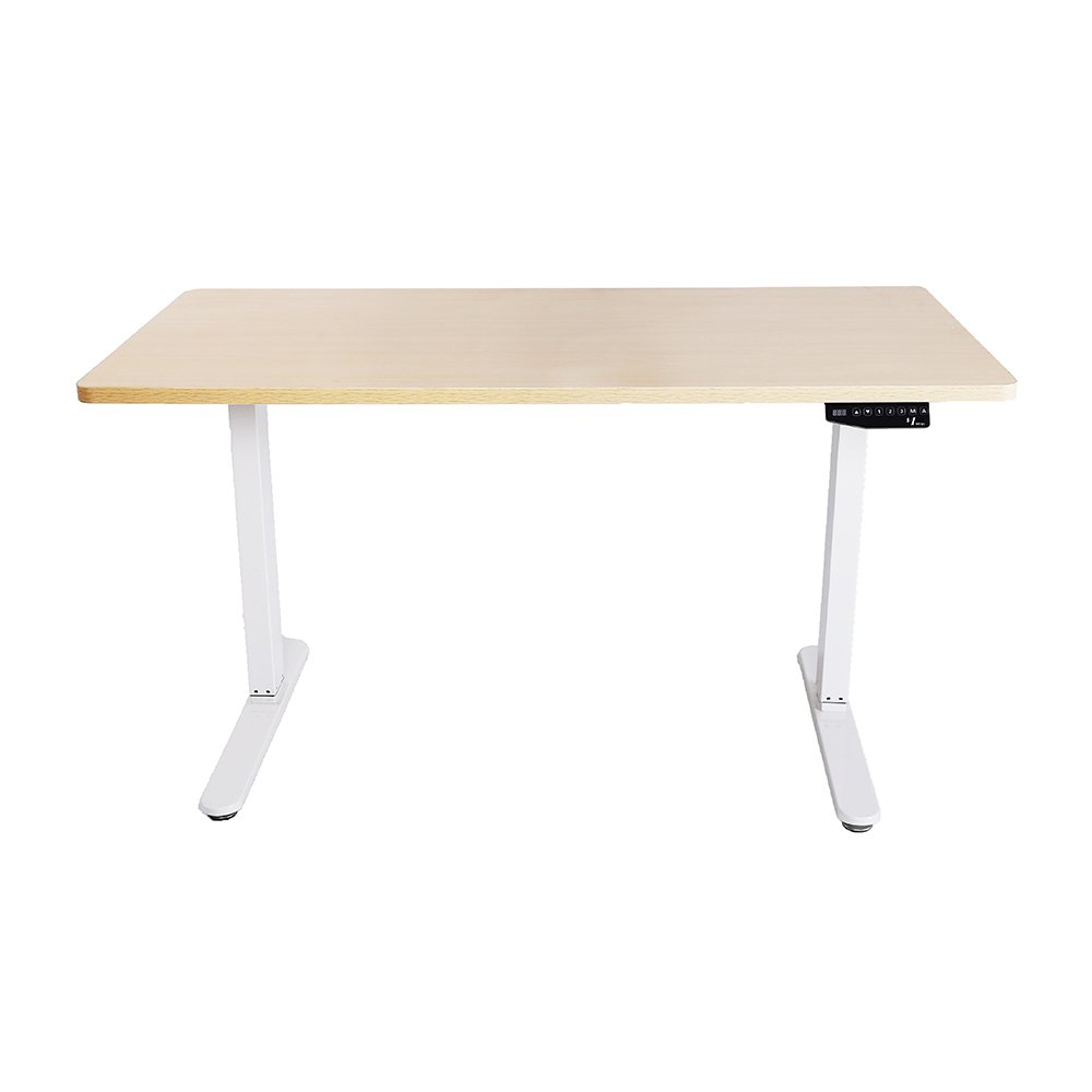 Mingo Labs TPL200N Adjustable Height Sit and Stand Desk with Control Pad and Double Motor for Heavier Lifting, Natural Oak
