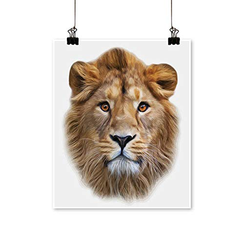 Modern Painting The face of an Asian Lion,Isolated on White Background The King of Beasts,Biggest cat Bedroom Office Wall Art Home,20