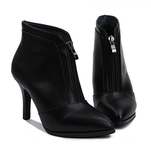 BLACK signore Suggerimento Stivali Femmina Le stivali black con 32 Tacchi zip da Da sottili alti 33 donna ZgnWWYvA