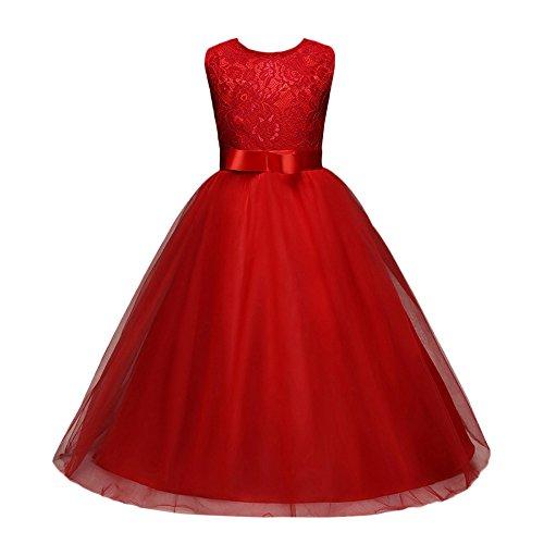 Gusspower Niñas Niños Largo Vestido Gala Encaje Vestidos De Ceremonia Fiesta Elegantes Nena Boda Damas De Honor Coctel Navidad Vacaciones Noche Vestido De Princesa Rojo