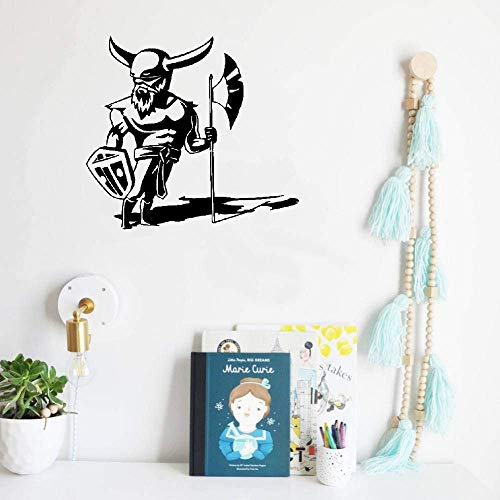paecui Wall Art Decor Decals Removable Mural Viking Warrior with Axe and Shield Armor Knight Gladiator]()