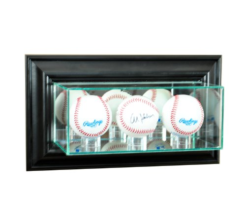 (Perfect Cases MLB Wall Mounted Triple Baseball Glass Display Case, Black)