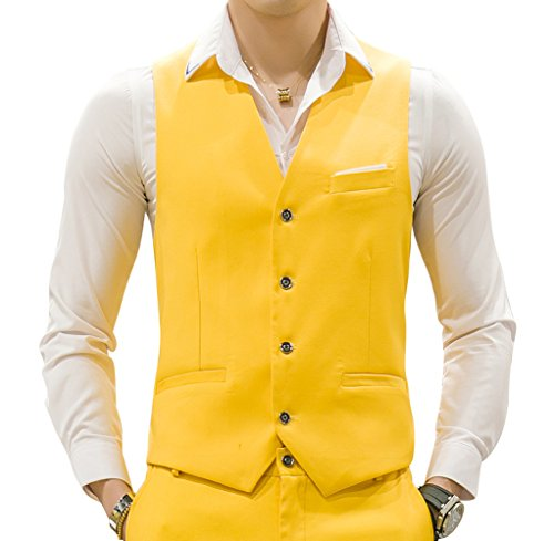 MOGU Mens Waistcoat Causal Suit Vests 10 Colors US Size 42 (Label 5XL) Yellow by MOGU