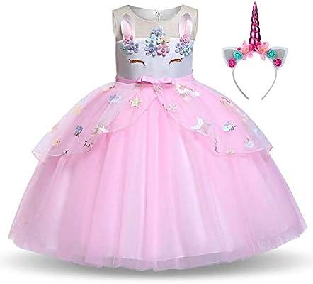 Disfraz Unicornio Niña, Vestidos Unicornio niña, Fiesta de Cosplay, Boda, Partido,Vestido De Princesa (7-8 Años, 128 cm)