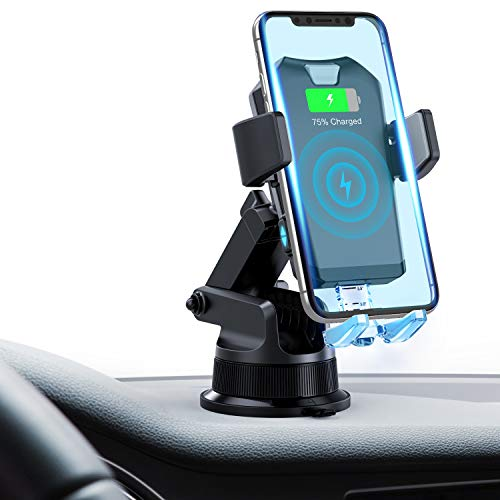 FITFIRST Wireless Car Charger Mount, Auto Clamping 7.5W /10W Fast Charging Qi Car Phone Holder Air Vent Dashboard Compatible iPhone Xs/Xs Max/XR/X/ 8/8 Plus, Samsung Galaxy S10 /S10+/S9 /S9+/S8 /S8+