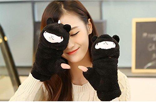 [CH048] アルパカぬいぐるみ かわいいハーフフィンガー手袋 スマホに便利 ふわふわあったか 【CHASEオリジナル 特製あったかイヤーウォーマー付き2点セット】 (ブラック)