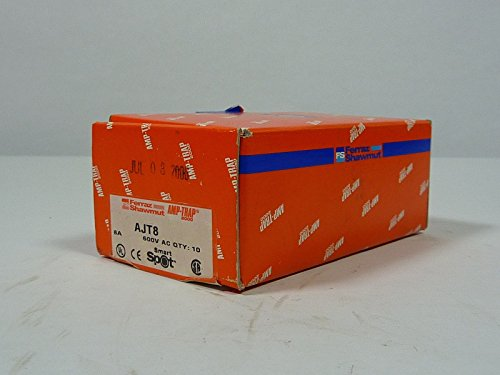 Ferraz Shawmut AJT8 Amp-Trap Dual Element Time Delay Fuse 8 Amp 600V Lot of 10 ()