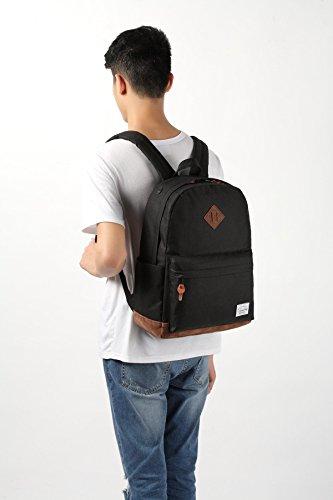 Vaschy-Unisex-Classic-Water-Resistant-School-Rucksack-Travel-Backpack-14Inch-Laptop