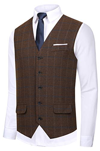 Hanayome Men's Gentleman Top Design Casual Waistcoat Business Suit Vest VS22,Brown,XXXL(US Tag Chest 56